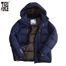 Tiger force 2016 marke männer winter wattierte jacke mode baumwolle polyester dicken mantel parka mit kapuze europäische größe freies verschiffen