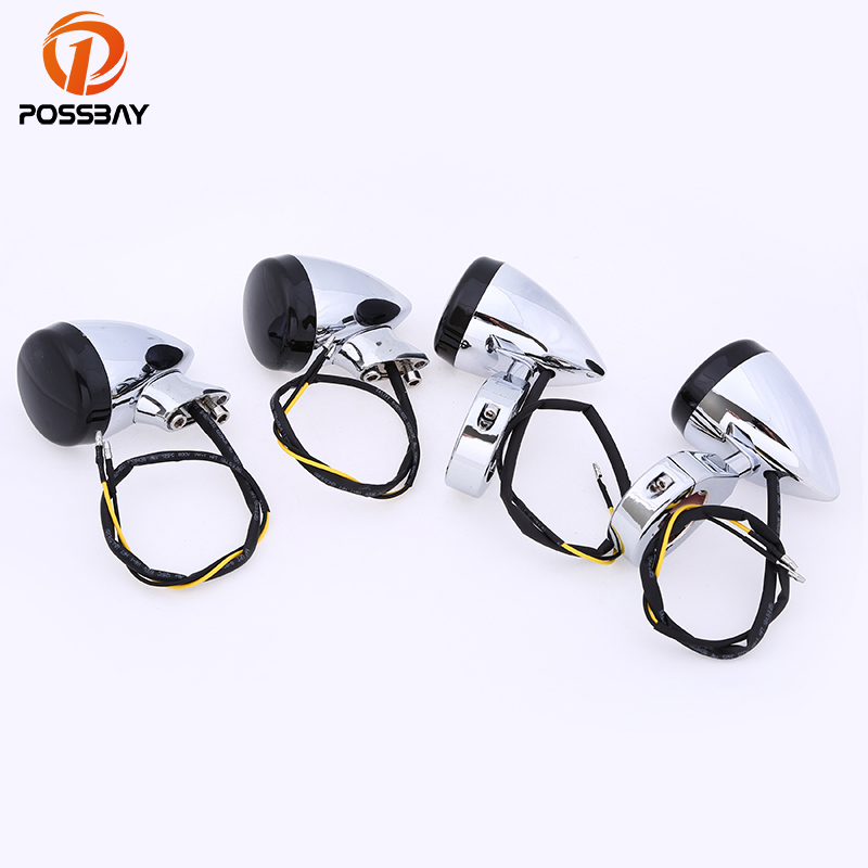 POSSBAY 4pcs Black Lens Universal Motorcycle LED Turn Signals Street Bike Motorbike Blinker Lamp Universal for Harley Cafe Racer