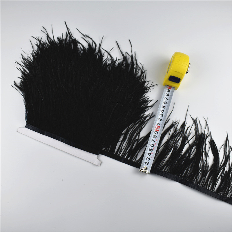 10 Meter 10 15CM Real Ostrich Feather Trims Fringe Ribbon for Skirt/Dress Black White Natural Ostrich Feather For Crafts Plumage-in Feather from Home & Garden    3