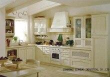 Классическая Твердой Древесины Кухонный Шкаф