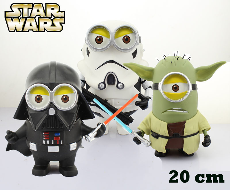 """ФОТО free shipping 8"""" despicable me minions minion cosplay star wars darth vader stormtrooper yoda boxed 20cm action figure model toy"""