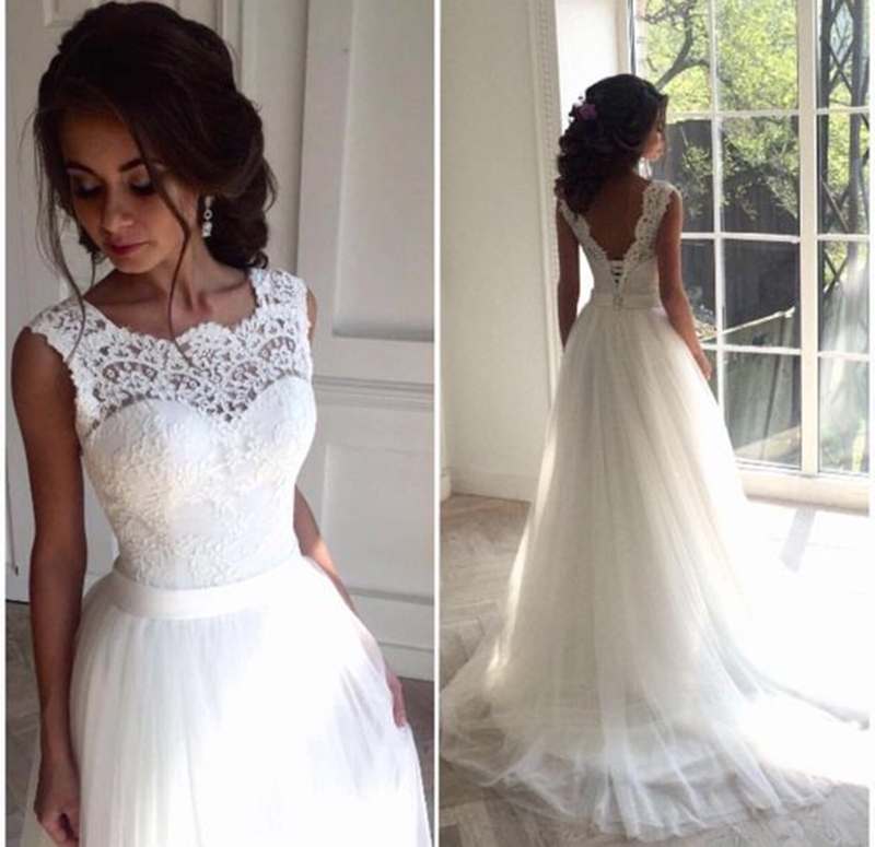 2-1              Solovedress A Line Lace Beach Wedding Dress 2018 Scoop Neck White Bridal Gown Tulle Skirt Chapel Train vestido de noiva SLD-228