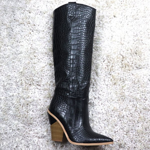 Image 5 - 7 colors 2020 New Brand women boots pointed toe thick high heels knee high boots autumn winter shoes slip on sexy ladies shoes