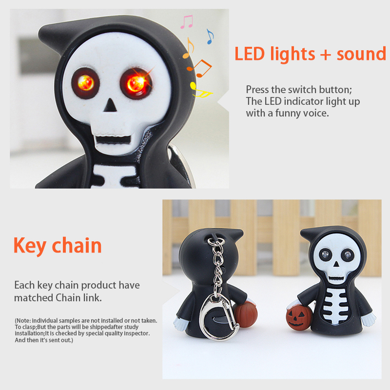 Multifunctional Pocket Halloween Gift LED Light With Sound Key Ring Outdoor Sports Camping Survival Self-defense Security Tools