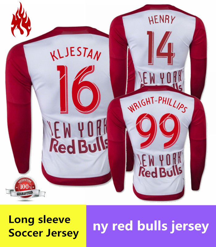 2015 16 New York Red Bulls Jersey Long Sleeve Home White