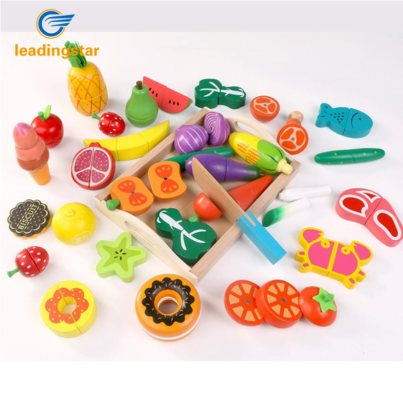 LeadingStar Wooden Play House Toy Kitchen Cut Food <font><b>Pretend</b></font> Play Educational Toys for Children zk35