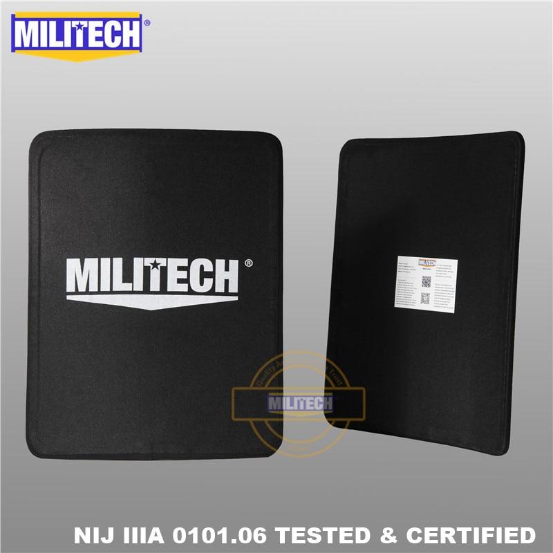 MILITECH Two Pcs Pair Set 11'' X 14'' 280 * 350mm SC NIJ IIIA Ultra Light Weight Ballistic Panel 3A Bulletproof Backpack Plates