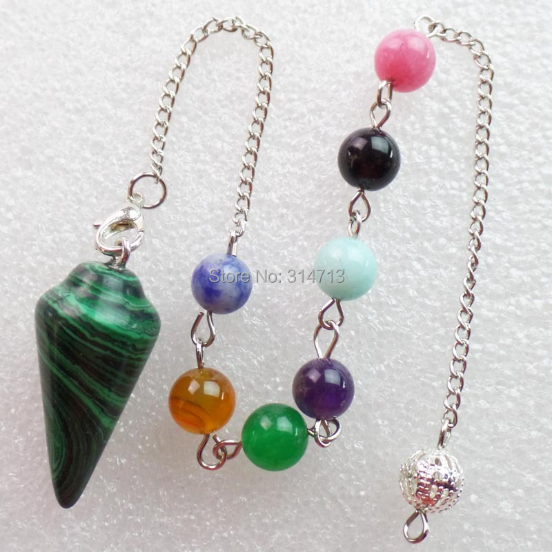 (Min.order 10$ mix)Wholesale 1 piese Man-made Malachite 32X15MM Pendulum With 7pcs Mixed ...