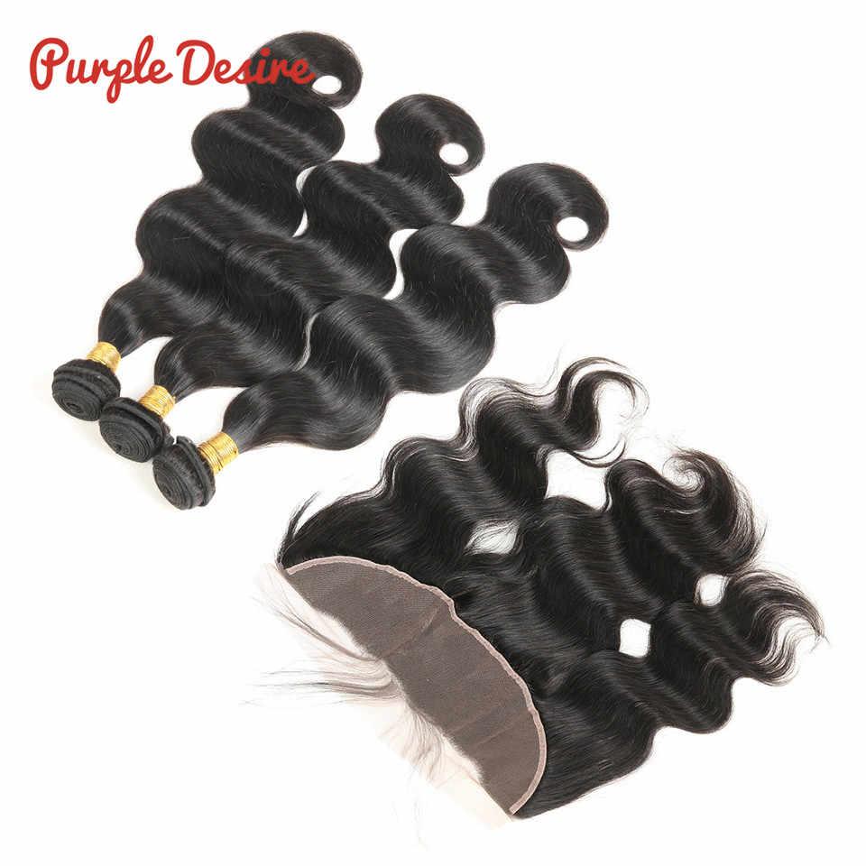 Индийские объемные волнистые человеческие волосы пучки с 13*4 фронтальные волосы remy с кружевом 3/4 пучки с фронтальным закрытием фиолетовые Desire волосы 1B