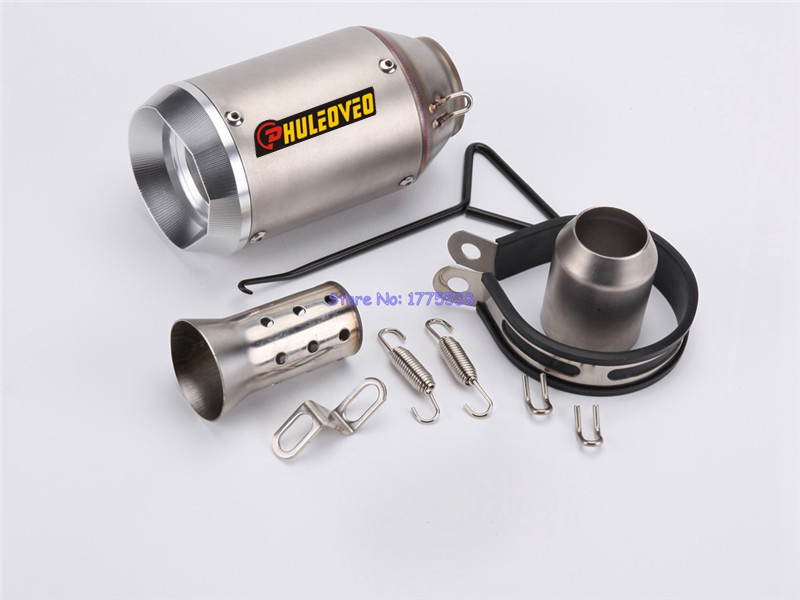 PHULEOVEO Universal Inlet 51mm Motorcycle Exhaust Muffler Carbon Fiber Motorbike Exhaust Muffler Pipe Escape with DB Killer