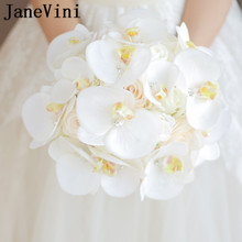 JaneVini Bouquet de Boda Occidental para Novias Flores Artificiales Crystal White Phalaenopsis Bouquet de Novia Mazzo Di Fiori 2018