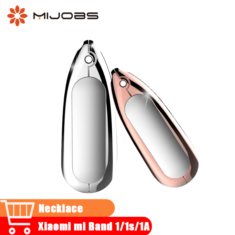 Mijobs Pendant Metal Necklace Stainless Steel Smart Watch Wrist Band xiomi 1 Bracelet Replacement for Xiaomi Mi Band 1/1S Strap