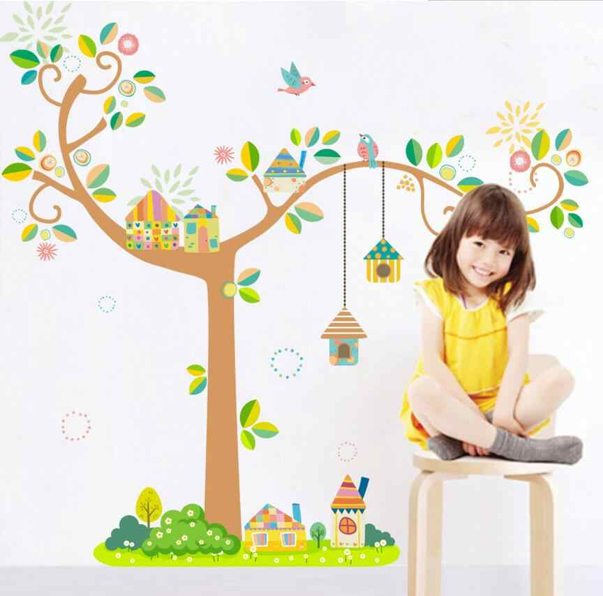 Adhesive children\'s room 3d cartoon tree wall sticker removable baby  bedroom wall decal home decor wallpaper
