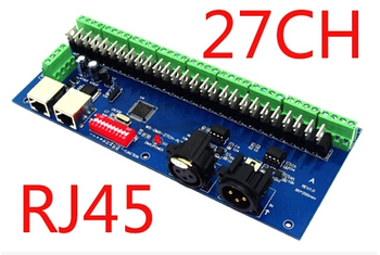 Hosta sprzedaży 27CH dmx512 dekoder, 27 kanałów dmx512 kontroler, 9 grup RGB wyjście, każdy kanał max 3A, LED DMX jazdy samochodem