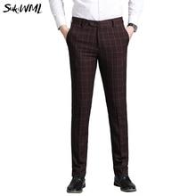 SUKWIML, мужские брюки,, мужские обтягивающие повседневные брюки, облегающие, Бизнес Стиль, мужской костюм, брюки, высокое качество, формальные клетчатые брюки для мужчин