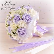 Perfectlifeoh Güzel Mor Düğün Buket Tüm Gelin Çiçek Düğün Buketleri Yapay Inciler Çiçek Gül ramos de novia