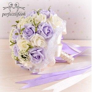 Image 1 - Perfectlifeoh bonito roxo buquê de casamento todos os buquês de casamento de flores de noiva pérolas artificiais flor rosa ramos de novia