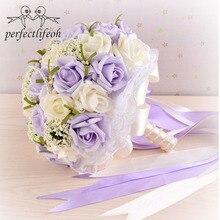 Perfectlifeoh piękny fioletowy bukiet ślubny wszystkie kwiat ślubny bukiety ślubne sztuczne perły kwiat róży ramos de novia