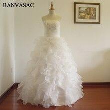 BANVASAC Free Shipping 2017 New A Line Beading Sleeveless White Satin Bridal Wedding Dress Wedding Gown Vestido De Noiva W0157