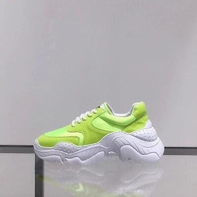 4f0edac875b Salvaje Versión Nueva Harajuku Coreana Verano Viejos Suela neon Aumento  Zapatos Rosado 2018 Gruesa Yellow blanco ...
