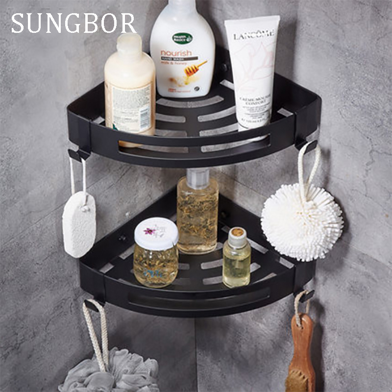Antique Corner Shelf Rack Bathroom Shelves Aluminum Storage Rack Space Aluminum Bathroom Shelf Black Shelves With Hooks HL-3668H factory outlet iron bathroom shelf storage rack shelves multilayer promotions
