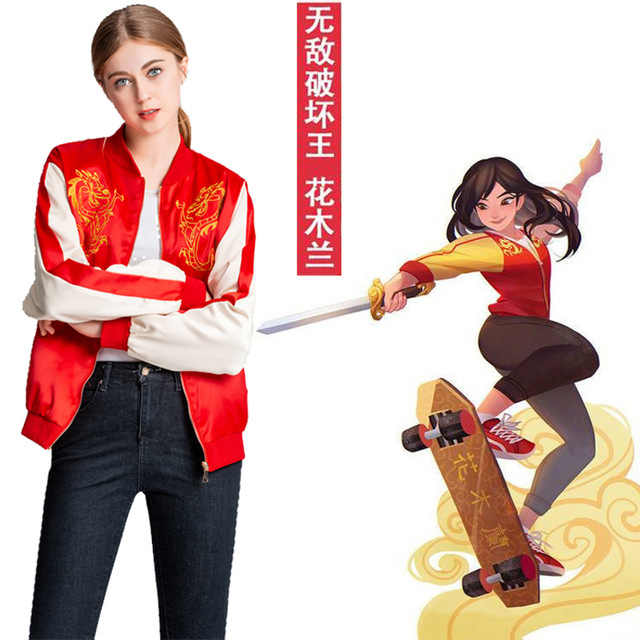 2019 Wreck It Ralph Princess Mulan Jacket Cartoon Ralph Breaks The Internet Mulan Mushu Dragon Cosplay Coat Women Daily Costume