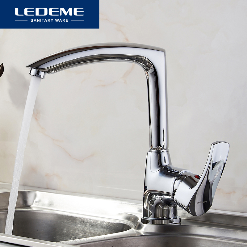 LEDEME New Kitchen Faucet Seven Letter Design 360 Degree Rotation with Water Purification Features Single Handle
