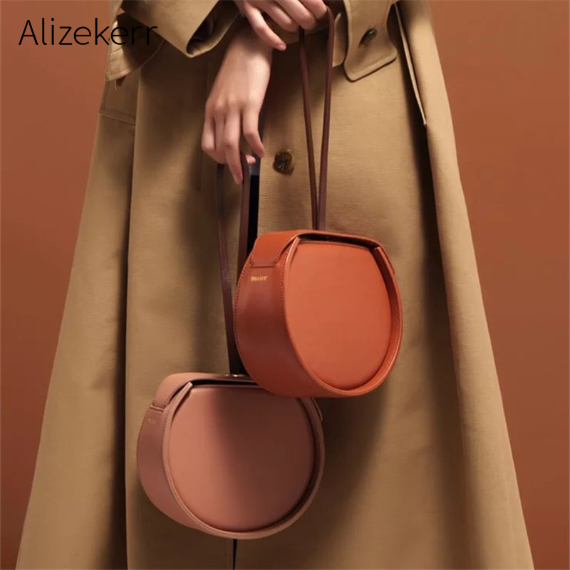 Saddle Handbag Women Luxury Circular Small Round Shoulder Bag Female Half Moon Tote Designer Bags Famous Brand Women Bags 2019