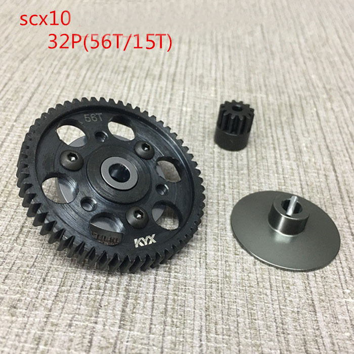1Set Axial Wraith SCX10 Metal Gears 56T/15T 32P Gearbox Gears Motor Pinion Gears for Rock Crawler RC Cars Upgrade 1set axial wraith scx10 metal gears 56t 15t 32p gearbox gears motor pinion gears for rock crawler rc cars upgrade