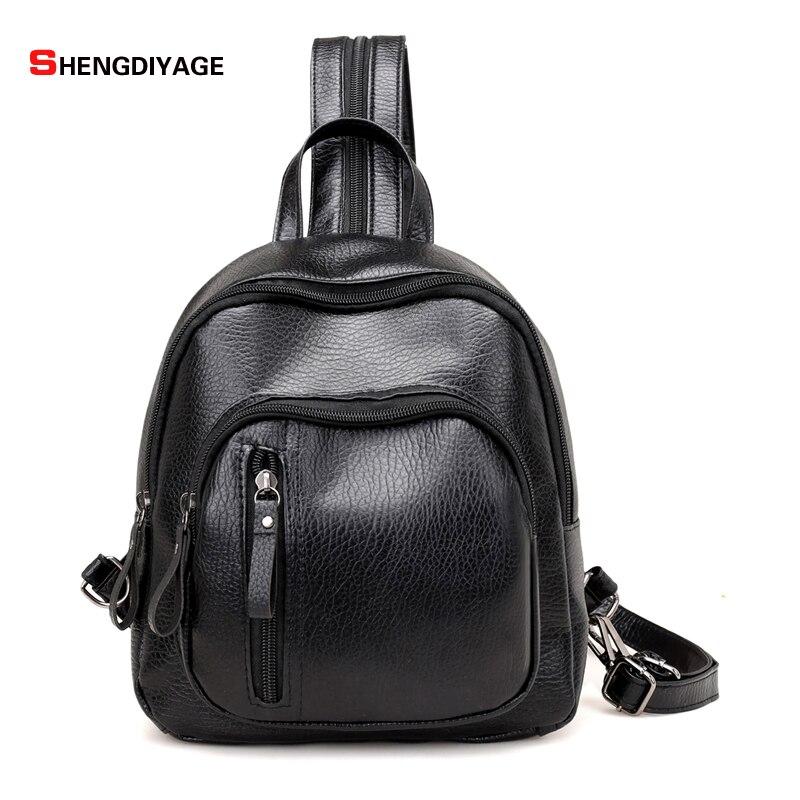 SHENGDIYAGE fashion women Backpacks Fashion Small Shoulder Bag Pattern PU Leather Backpack Embossed School Bags Backpack
