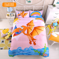 CLOVER LANGUAGE Dinosaur Bedding Sets Cartoon Kids Boy Cotton Sheet Duvet Cover Set Pillowcase 3 4pcs
