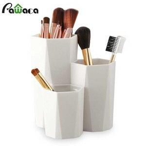 3 Lattices Cosmetic Make-up Brush Storage Box Table Organizer Makeup Nail Polish Cosmetic Holder Make Up Tools Pen Holder Rack(China)