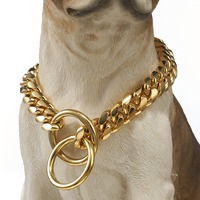 High Quality 16mm wide Gold Tone Double Curb Cuban Miami Link 316L Stainless Steel Dog Chain Collar Wholesale Pet Jewelry