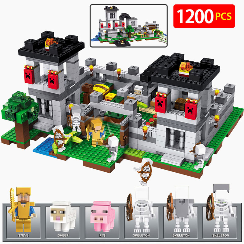 4 in1 My World Fortress Building Blocks Castle Kids Toys Gift Compatible LegoINGLYS Minecrafted City Building Blocks my world figures toy building blocks compatible with legoinglys minecrafted city 4 in 1 diy garden bricks toy gift for kid