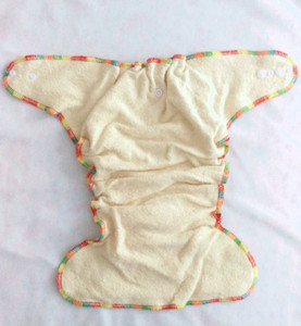Image 2 - Fitted Cloth Diaper Overnight Diaper with 2 Cotton Hemp Inserts, One Size with Snap Buttons fit to 3 13kg babys no pul