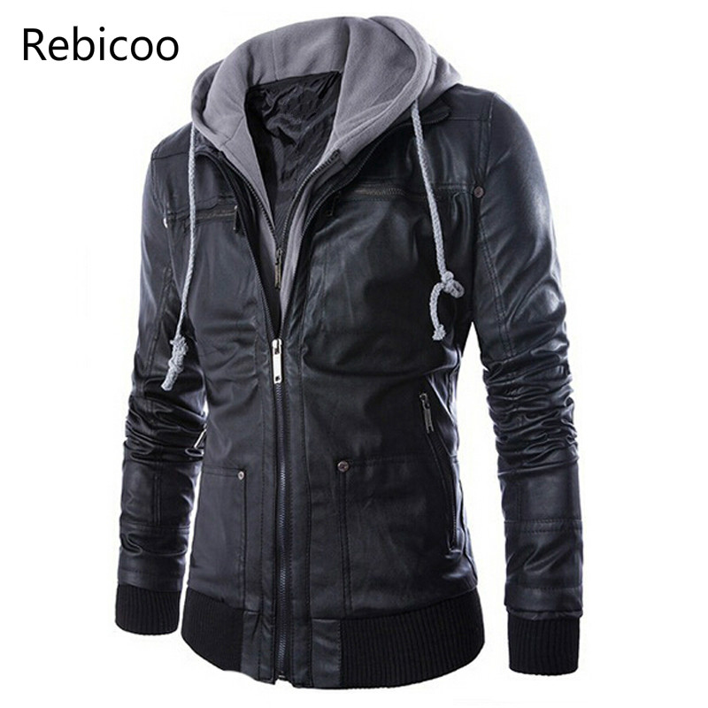New Brand Men Leather Jacket Mens Hooded Leather Jacket With Fur Hood Leather Jacket Zipper Design Motorcycle Leisure Coat