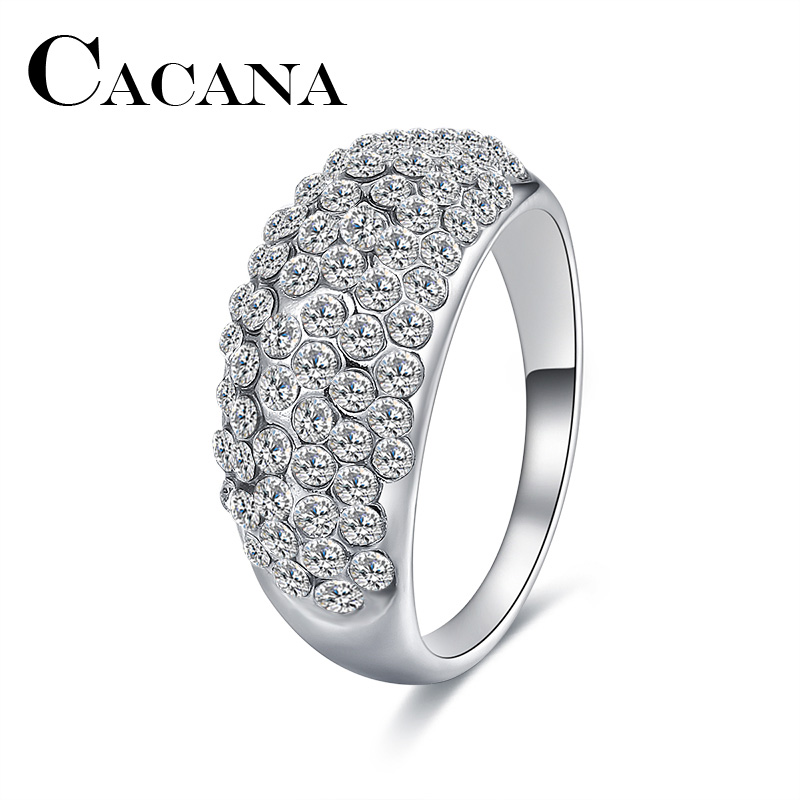 CACANA Wedding Bands Rings For Women Exquisite Metal Zinc Alloy Engagement Party Full Cubic Zirconia Silver Plated Ring Jewelry