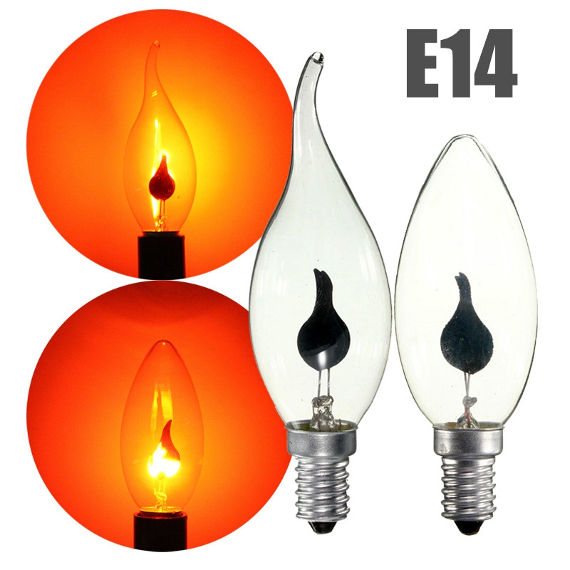 220V New Vintage Edison Light Bulb E14 3W LED Energy Saving Lamp Fire Flame/Candle Tail Chandelier Bulbs Home Bar Decor Lighting good power e14 led candle bulb light 220v 3w led energy saving lamp velas bombilla decor home lighting led bulbs for chandelier