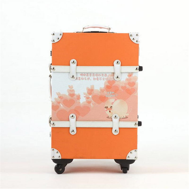 Cute cartoon pu leather + wood caster wheel locks male and female couple suitcases boarding trolley suitcase 20-inch 24-inch
