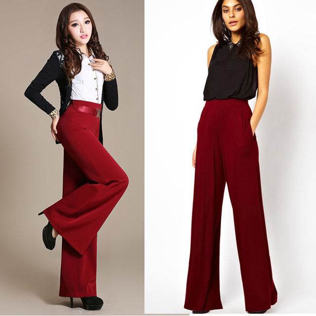 668e607d6779 6XL 2015 Fashion Trend Wine red high waist wide leg dress pants for ladies Wide  Leg Pants Long Straight wide-legged Trousers