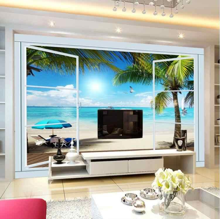 3d写真壁紙ココナッツヤシココナッツツリーココスココヤシ壁画用リビングルーム寝室のホーム壁の装飾窓海の風景