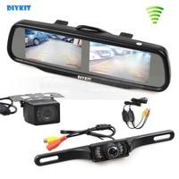 DIYKIT Wireless Dual 4 3 Inch Screen Rearview Car Mirror Monitor Waterproof Car Rear View Reverse