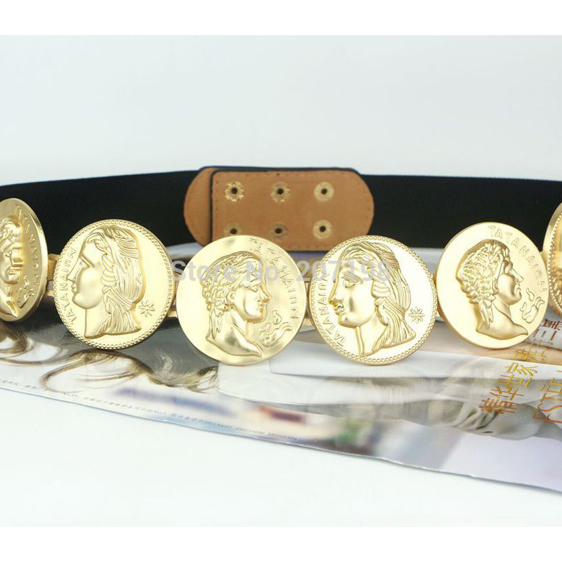 Celebrity   Belts   for women Lady Roman Medallion Stretch   Belt   for Dress fashion design 6 Gold Coin 3 color nice quality bg-066