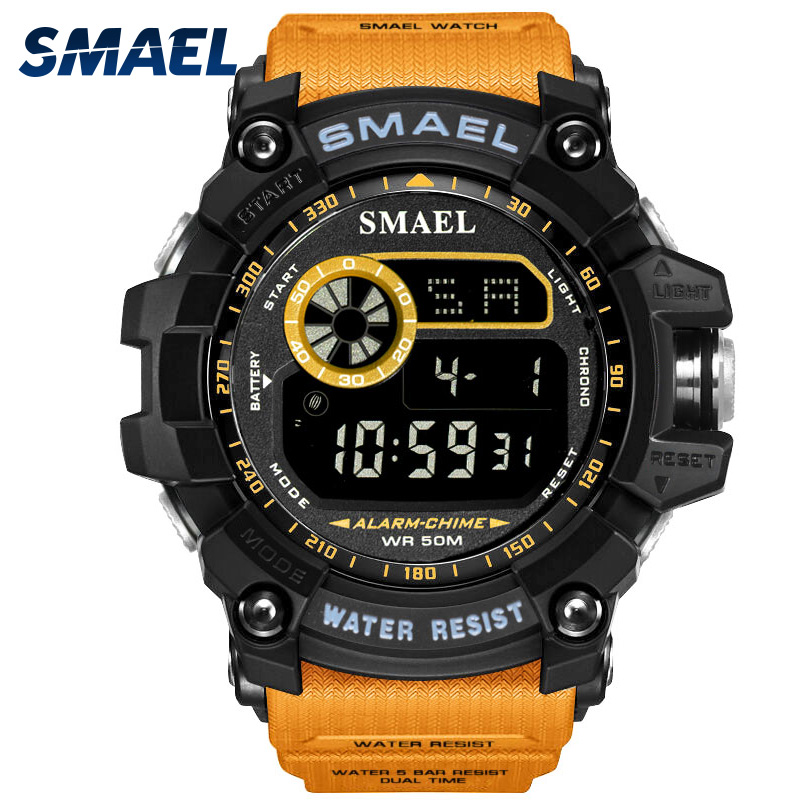 Digital Watch for Men Chronograph Watch SMAEL Digital Clock Men Big Dial Watches 8010 Waterproof Sport Watches Led Wristwatches