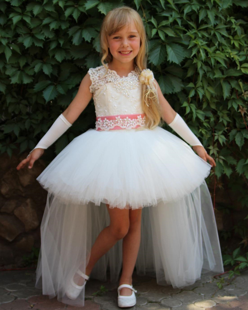 Unique Design White Appliques Lace Tulle   Flower     Girls     Dresses   for Weddings Party Custom Made
