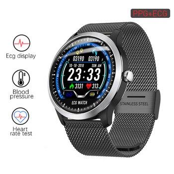 N58 ECG PPG Smart Watch Electrocardiograph ECG Display Measurement Leather and Steel Blood Pressure Men Smartwatch Women