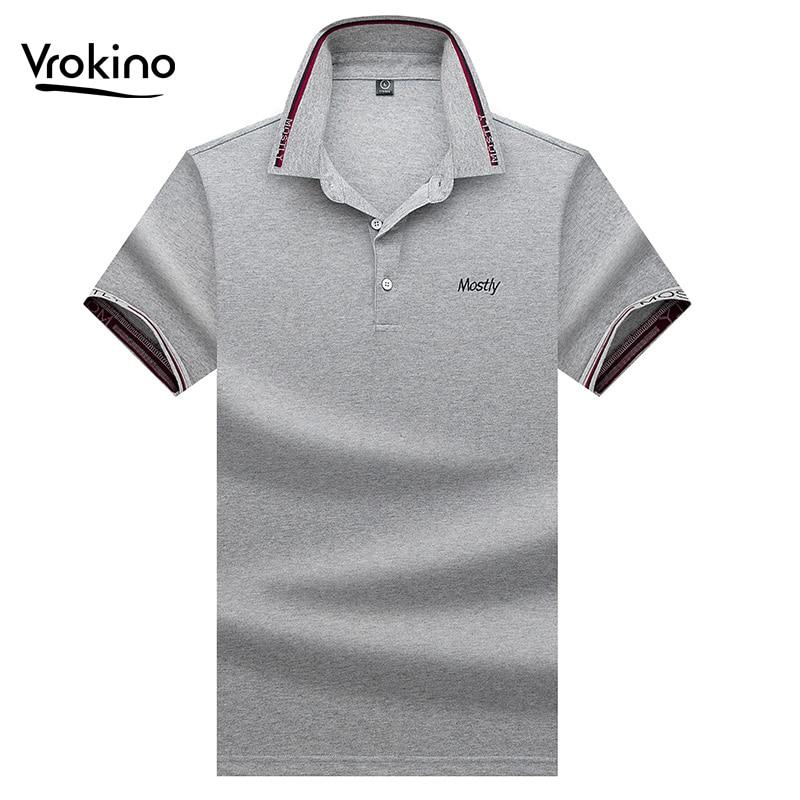 VROKINO 2019 New Men's   POLO   Shirt Men's Business Casual Color Fashion   POLO   Shirt High Quality Lapel Short Sleeve   Polo   Shirt