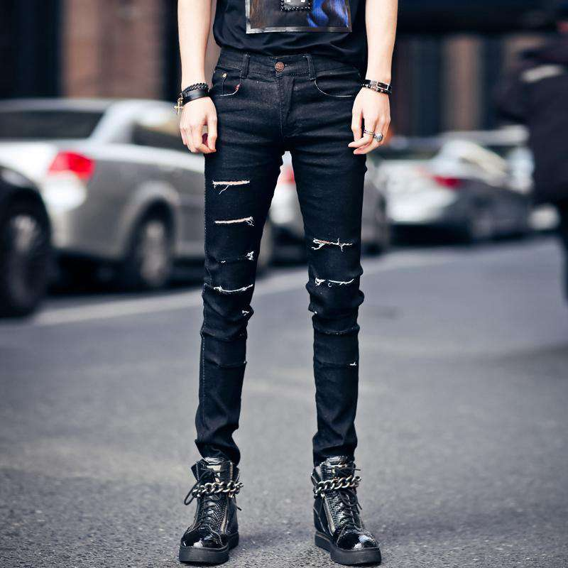 #1914 2016 Casual skinny jeans men Black jeans Punk Hip hop Ripped jeans for men Biker jeans masculino Pencil pants Distressed