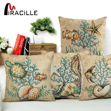 Miracille Cotton Linen Creative Marine Ocean Style Sea Horse Fish Pattern Decorative Cushion Covers For Sofa Chair Home Decor miracille marine style mermaid painting pattern coffee house chair waist decorative cushion cover bedroom throw pillowcase 18