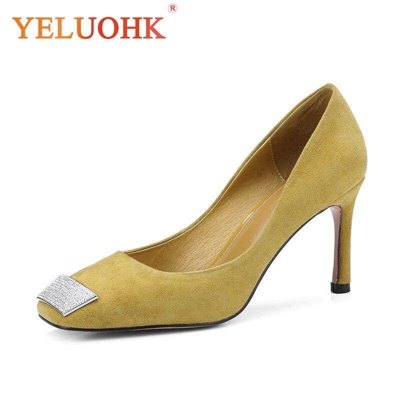 Primavera Yellow Talón Tacones 8 Cm Altos Mujeres Black Zapatos Calidad Bombas 2018 Alta leight qRB1xw